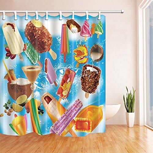 Eis Decor Vorhänge Dusche von gohebe viele Eis für Kid Love Bad Vorhänge 180,3x 180,3cm (Gelb-eis-wanne)