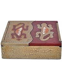Schatulle aus leichten Albesia-Holz, handbemalt, Gecko oder Sonne & Mond, Motiv:- Gecko