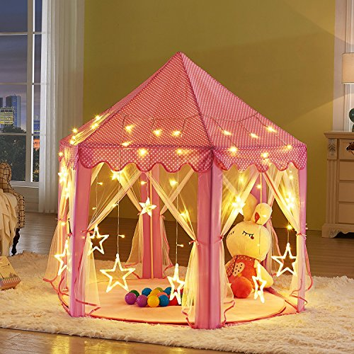 Kids Pink Princess Castle Playhouse-LEKESI Play Tent For Girls Indoor Outdoor