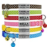 Vcalabashor Personalised Cat Collars with Jingle Bell/Stainless Steel No Noise Slide-On Tags On Collar/3 Lines Personalized Text/Polka Dot Pattern