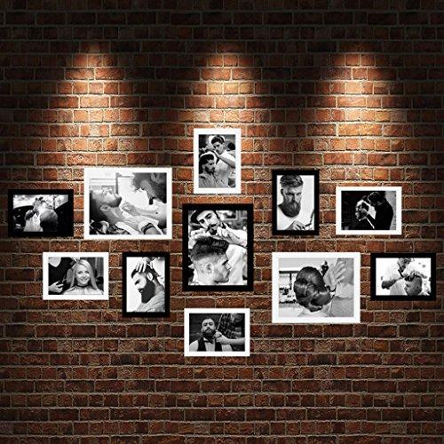 Marco de fotos Home @ Wall Peluquería Decoración Pared de fondo Peluquería Pinturas murales Cuadro Combinado Foto Marco Foto Pared Europa y América Hot Dye ( Color : F )