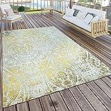 Paco Home In- & Outdoor Terrassen Teppich Modern Orient Muster Vintage Optik Gelb Creme Beige, Grösse:160x220 cm
