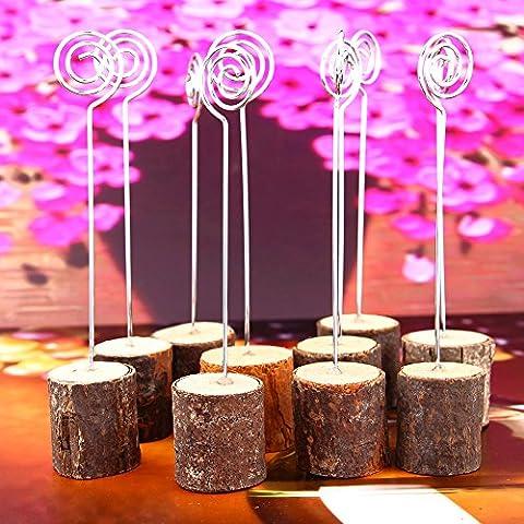 Porte-Cartes de Table Rustique en Bois Véritable Pour Mariage, Décoration de Fête, Note, Clips Photo, 10 Paquets Par Cherish Zzn