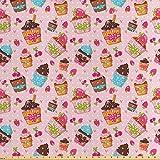 ABAKUHAUS Rosa Satin Stoff als Meterware, Küchen Cupcakes