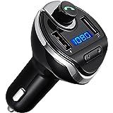 ORIA Bluetooth FM Transmitter, KFZ Wireless Auto Radio Adapter mit 2 USB Ladegerät, SD/TF Kartenleser Slot und Mikrofon, Übertragung von Musik, Car Kit für Android Smartphones und iPhone
