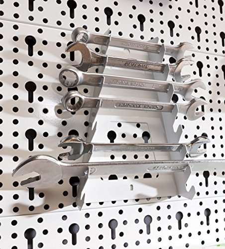 Element System Werkzeuglochwand aus Metall plus 19 teilig Werkzeughalterset inklusive Schrauben und Dübel, Werkzeugwand weiß, Werkbankzubehör - 2