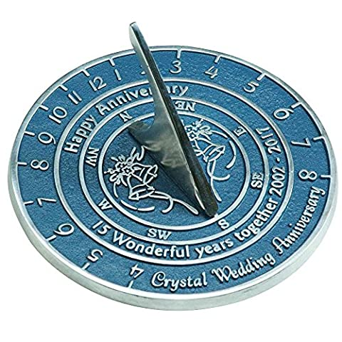 Handmade Crystal Wedding & Anniversary Sundial Gift By The Metal