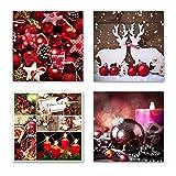 Weihnachten Set C schwebend, 4-tlg. Bilder-Set jedes Teil 29x29cm, Seidenmatte Optik auf Forex FineArt Print, UV-stabil, wasserfest, Deko für Büro, Wohnzimmer Weihnachten Kerze Christkind