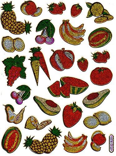 fruchte-obst-ananas-melone-papaya-bunt-aufkleber-26-teilig-1-blatt-135-mm-x-100-mm-sticker-basteln-k