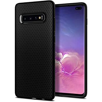 Spigen Coque Galaxy S10 Plus, Coque S10 Plus [Liquid Air] Motif géométrique/Anti-Slip Surface Matte/Anti-Fingerprint/Flexible Silicone Compatible avec Samsung Galaxy S10 Plus, S10+ [Noir]