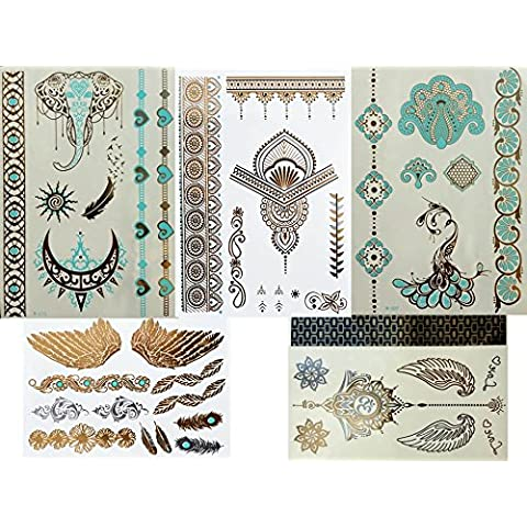 5láminas Metallic Tattoo Acción Blue oro Set turquesa y oro flash Tattoo adhesivo bonita joyas Tatuajes–Acción de verano.