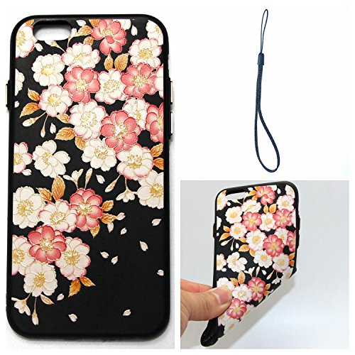 Felfy Silicone Coque pour iPhone 6S Plus,iPhone 6 Plus Case Original,iPhone 6S Plus Coque Noir Ultra Mince Extra Slim Etui Fleur Colorés Motif Relief Design Flex Soft Gel TPU Silicone Caoutchouc Etui  Fleur Colorés #08
