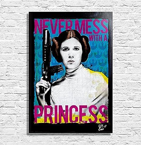 Princesse Leia Organa (Carrie Fisher) de Star Wars, Illustration Originale Encadrée, Pop-Art Peinture, Presse Artistique, Poster, Toile Imprimée, Image sur Toile, Affiche d'Art, Affiche de Film