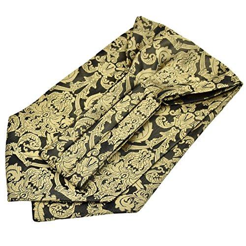 Ascot-schal (Panegy Herren Krawattenschal Ascotkrawatte Schal Fashion Gentleman Cravat Ties - Gold&Schwarz)