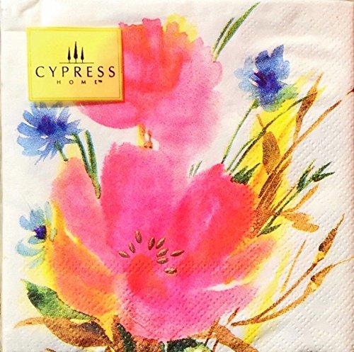 Cypress Home Getränkerservietten, Mohnblumen-Motiv, 40 Stück