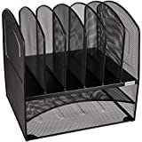 Amazon Brand - Solimo Mesh Desk Organizer with 2 Trays (Black)