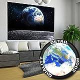 Poster Welt Wandbild Dekoration Blick auf die Erde aus dem Weltall Mond Sky Planet Galaxy Universum All Kosmos Weltkugel Sterne | Fotoposter Wanddeko Bild Wandgestaltung by GREAT ART (140 x 100 cm)