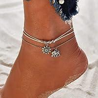 Ushiny Boho cheville soleil cheville Bracelet argent éléphant pied chaîne perlée cheville chaîne couches plage réglable…