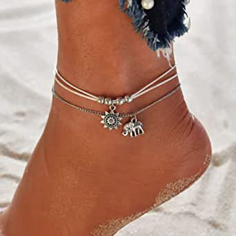 Ushiny Boho cheville soleil cheville Bracelet argent éléphant pied chaîne perlée cheville chaîne couches plage réglable bijoux pour femmes et filles