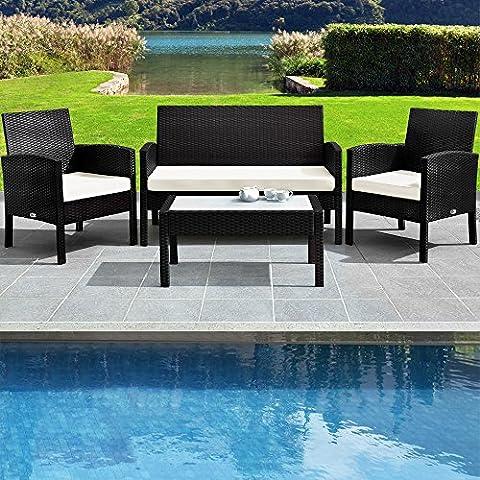 Poly Rattan Gartenmöbel Set Terrasse Wintergarten Rattan Tisch Sofa Stühle OUTDOOR schwarz