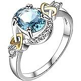 Emorias 1 Pcs Anillo de Plata Marry Pareja Compromiso Joyas Diamante Grande Joyeria Mujer Moda Chica Amor Boda Aleación Acces