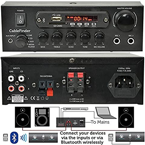 CABLEFINDER EXCLUSIVE - 110W Mini Bluetooth Karaoke Amplifier System–Wireless Home/Office Loud Speaker Hi-Fi Amp