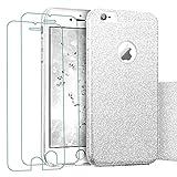 iPhone 6 Plus/6S Plus Hülle + 2x Panzerglas(5,5 Zoll), iLiebe® Glitzer Schutzhülle [Weiche TPU Abdeckung + Glitzer Papier + PC innere Schicht] [Drei in Einem] Hülle für iPhone 6 Plus/6S Plus (Silber)