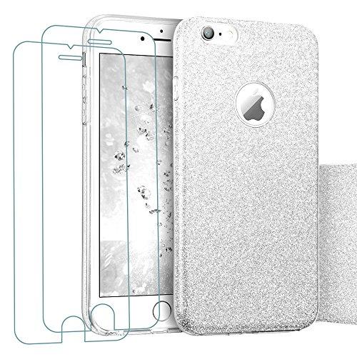 iPhone 8 iPhone 7 Hülle + 2x Panzerglas, iLiebe® Glitzer Schutzhülle [Weiche TPU Abdeckung + Glitzer Papier + PC innere Schicht] [Drei in Einem] Hülle für iPhone 7 Hülle(4,7 Zoll) (Silber)