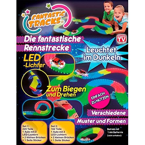 Fantastic Tracks® Autorennbahn oder Rennstrecke + Auto mit 3 LED-Lichtern, 162-Teile - Original aus TV-WERBUNG -