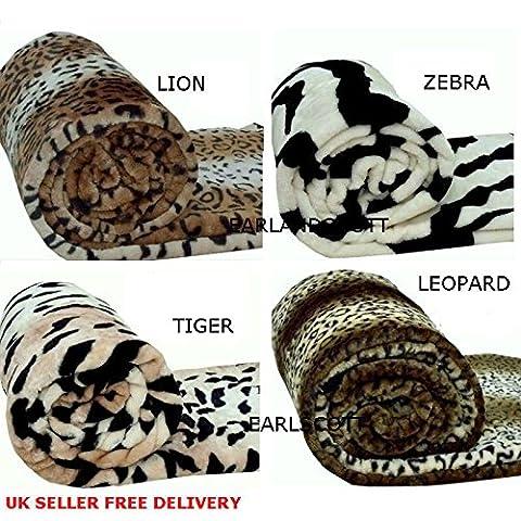 Thearl® Nouvel Animal Fausse fourrure Couvre-lit/couverture chaude et douce ~ Tigre, léopard, Lion, zèbre et serpent épais couvertures ~ M, L et XL ~ UK Tailles NEUF, lion, XL (200 x 240 cm)