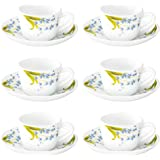 Larah By Borosil - Lavender Cup and Saucer Set, 140ml, 12-Pieces, White