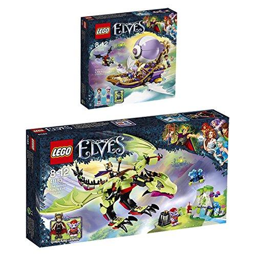 Preisvergleich Produktbild LEGO Elves 2er Set 41183 41184 bose Drache des Kobold-Konigs + Airas Luftschiff und Jagd nach Amulett - sofort lieferbar!