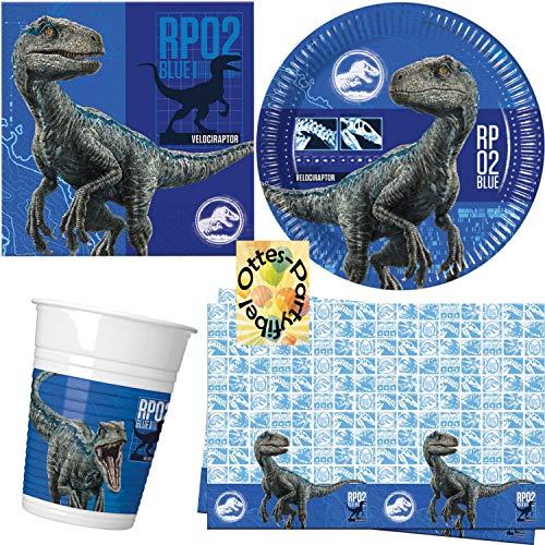 HHO Jurassic World 2 Dinosaurier Partyset 53tlg. für 16 Gäste Teller Becher Servietten Tischdecke