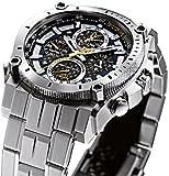 Bulova Mens Designer Chronograph Watch Stainless Steel Bracelet - Blue W/ Yellow Precisionist Wrist Watch 96G175