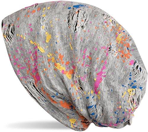 styleBREAKER Beanie Mütze mit Splat Style Farbklecks Muster im Used Look Vintage Design, Slouch Longbeanie, Unisex 04024118, Farbe:Weiß