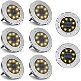 Faretti da terra a energia solare, confezione da 8 LED impermeabili, a disco, colore bianco caldo, per giardino, cortile, pra