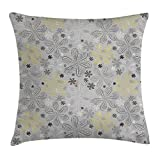 Grey and Yellow Throw Pillow Cushion Cover, Ethnic Bohem Style Paisley Print Flowers Dots Art Image, Decorative Square Accent Pillow Case, 18 X18 Inches, Light Grey Black and White