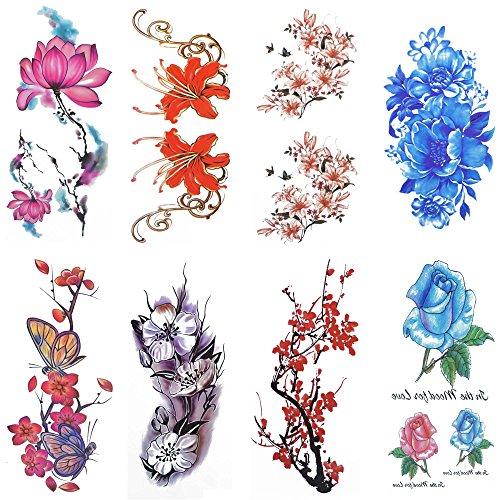 COKOHAPPY Temporäre Tattoo 8 Verschiedene Blätter Aquarellfarben Blume Schmetterling ( Ein Satz ) für Damen
