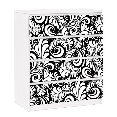 Apalis 91217 Möbelfolie für Ikea Malm Kommode - selbstklebende Black and White Leaves Pattern, größe 4 mal, 20 x 80 cm