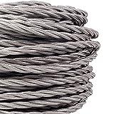 Câble flexible gris en soie tressée - 10m - 3brins - Style rétro - Pour éclairage, 240.00V