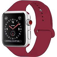 HILIMNY pour Bracelet Apple Watch 38MM 42MM, Bracelet Sport Doux in Silicone Remplacement avec innovant de Fermeture à Clou et Passant pour Apple Watch Serie 1, Serie 2, Serie 3
