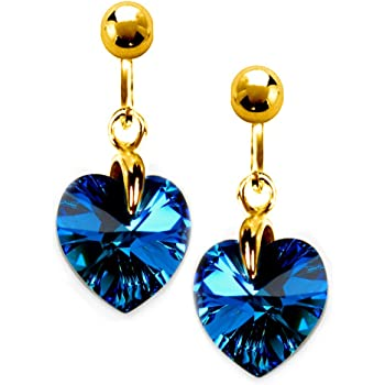 5789b4260 Black Moon® Midnight Blue Clip On Earrings Swarovski Crystal 10mm Hearts  Gold Plated Gift Box by Black Moon
