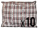 Pack of 10 XX- Large STRONG Storage Laundry Shopping Bags – XXL Moving Bags with Zipper & Handles Checkered - Reusable Store Zip Bag(Assorted)