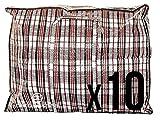Lot de 10sacs de rangement extra larges et robustes, sacs à carreaux taille XXL avec fermeture éclair et poignées, sac à linge, sac de shopping