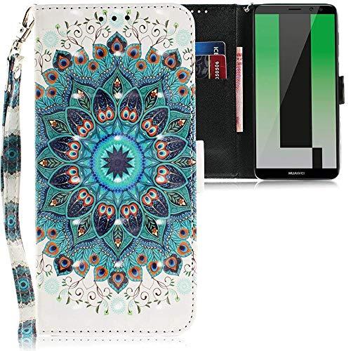 CLM-Tech kompatibel mit Huawei Mate 10 Lite Hülle, PU Leder-Tasche mit Stand, Kartenfächern, Lederhülle Kunstleder, Blume Ornament grün Mehrfarbig
