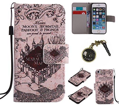 PU für iPhone 5 5S SE Hülle, Klappetui Flip Cover Echt Leder Tasche für iPhone 5 5S SE Flip Cover Handyhülle Bookstyle mit Magnet Kartenfächer Standfunktion + Staubstecker (3EE)