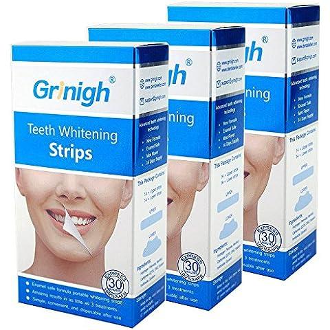 Dientes Grinigh tiras de blanqueamiento dental profesional La mejor blanqueador Inicio kit incluye ingredientes naturales con una sonrisa blanca sana | 42 Tratamiento | (CERO peróxido de