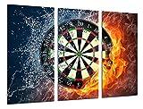 Wandbild - Bild Spiele, Darts Spielen, Glücksspiel Hall, 97x 62 cm, Holzdruck - XXL Format - Kunstdruck, 26378