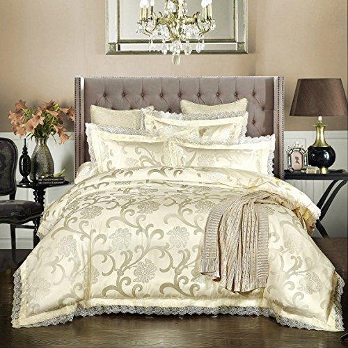 Beddingleer Bettwäsche 220 x 240 cm Weiß 4-tlg Luxus Weiche Bettbezug Sets Satin Jacquard Paisley gehören 1 Bettbezug+1 Bettlaken+2 Kissenbezüge - Paisley-satin-kissenbezug