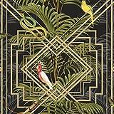 Statement Feature Wallpapers Oiseaux Tropical palmiers papier peint Noir Doré métallique Vert Congo Holden Decor